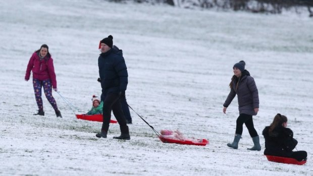 People sledging on Camp Hill, Woolton, Liverpool