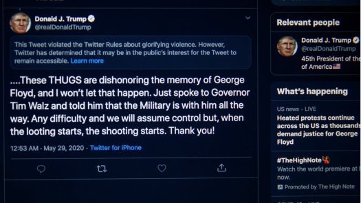 President Trump tweets about the unrest