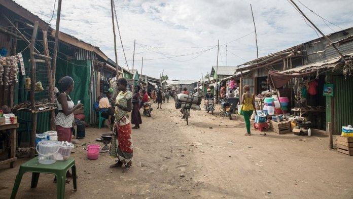 A bustling street in the Kakuma camp