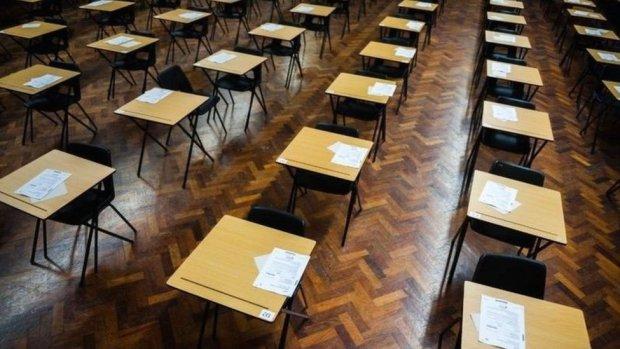 Desks in an exam hall