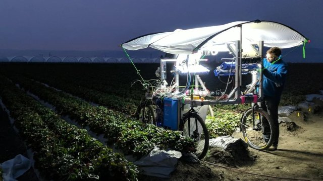 A man works on a prototype buggy in a field at night - this version looking like a large table mounted on bicycle wheels, with computer kit on the flat surface