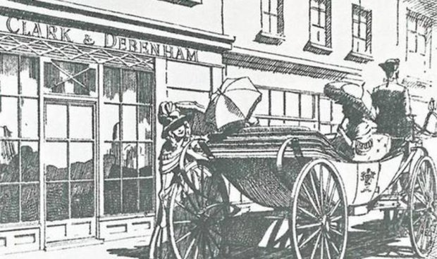 An illustration of customers outside of a Clark and Debenham store in the 19th Century