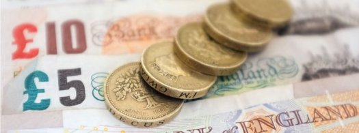 Pound coins and paper money