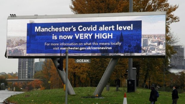 Manchester covid alert sign