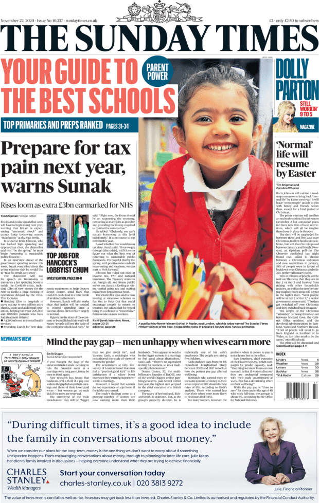 The Sunday Times front page 22 November 2020