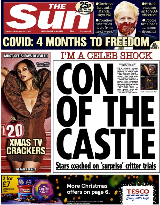 The Sun front page 24 November