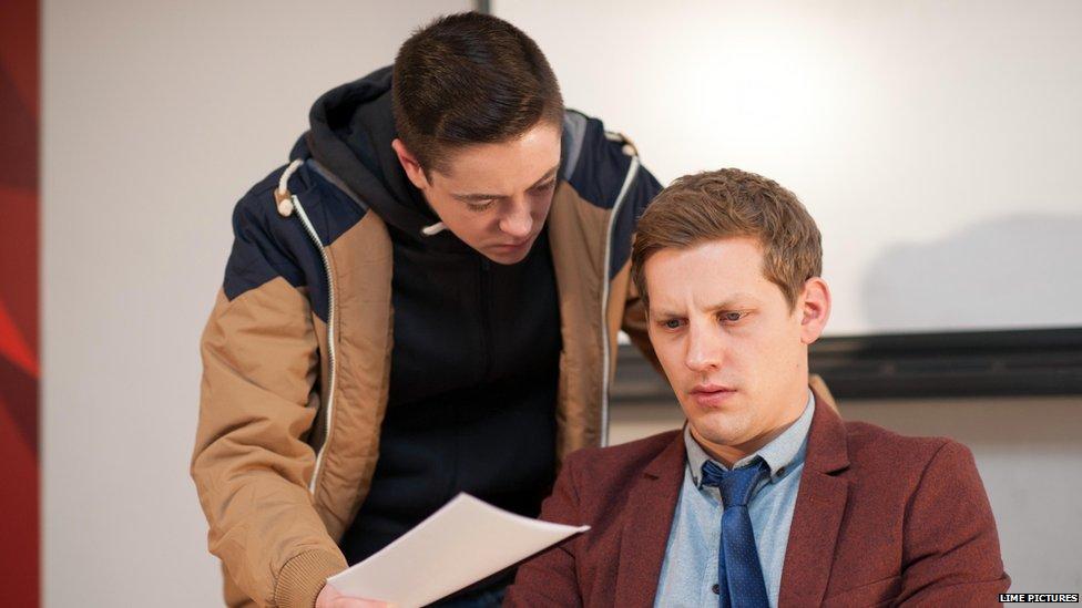 Keith Rice as Finn and James Sutton as JP McQueen