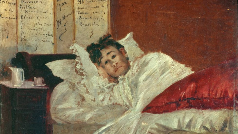 Jef Rosman's oil painting of Arthur Rimbaud (1854-1891) in his Bed, Wounded by Verlaine in 1873