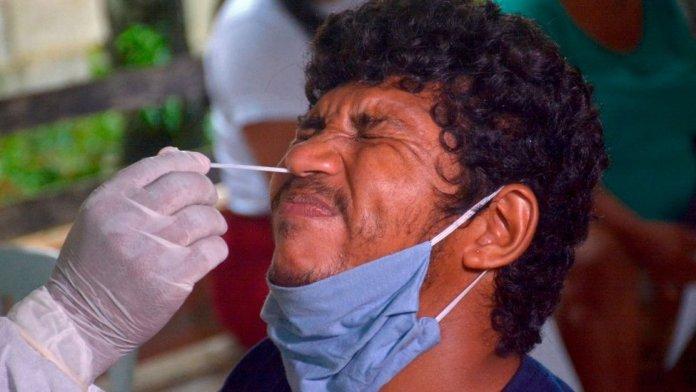 Coronavirus test in Brazil.