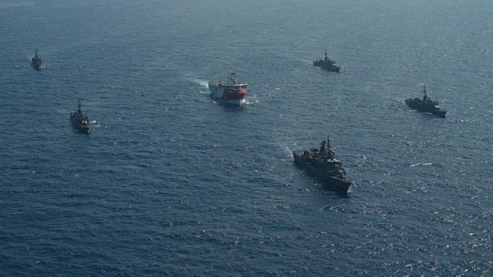 Oruc Reis is escorted by Turkish Navy ships as it sets sail in the Mediterranean Sea, off Antalya, Turkey, August 10, 2020
