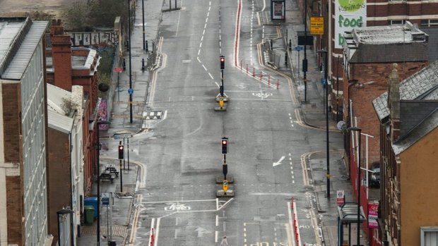 Bradford Street in Birmingham city centre seen deserted on Wednesday