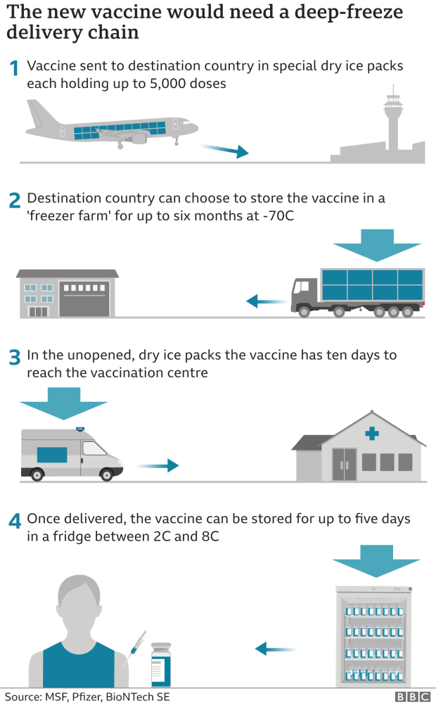 Graphic illustrating how the cold chain would work to deliver the vaccine to local vaccination centres.