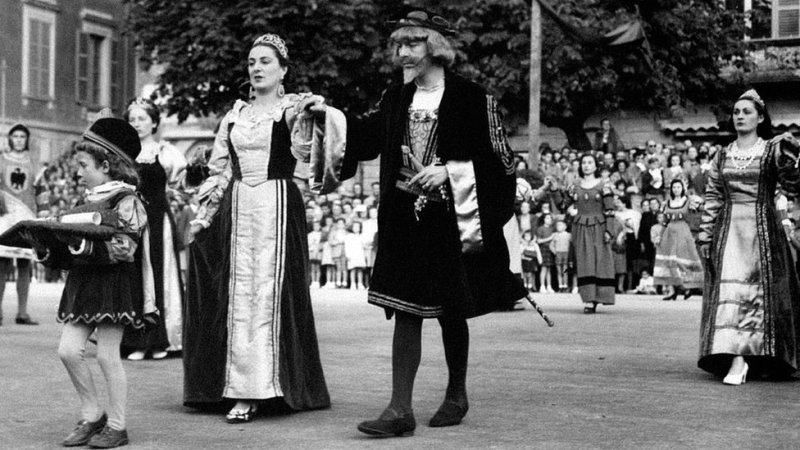 Representación teatral histórica en Portugal de Felipa Moniz, esposa de Cristóbal Colón. 1960