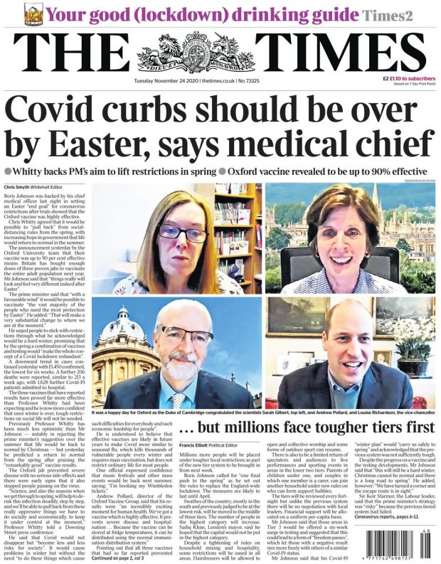 The Times front page 24 November
