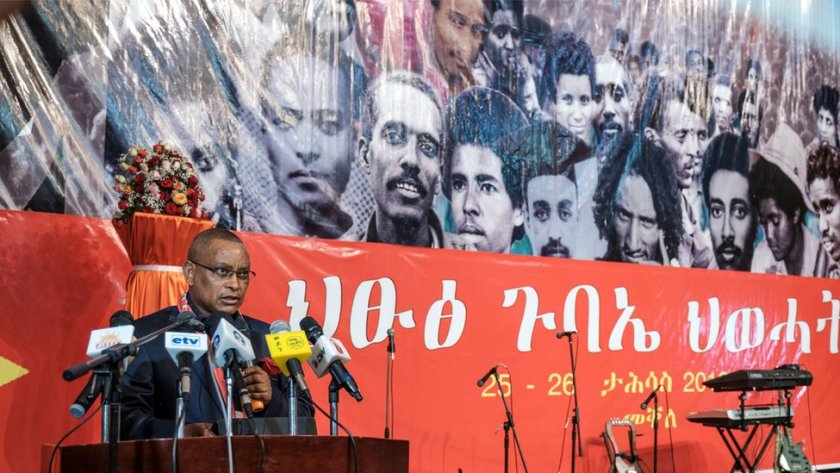 Chairman of the Tigray People's Liberation Front (TPLF) Debretsion Gebremichael delivers a speech during the TPLF First Emergency General Congress in Mekelle, Ethiopia, on January 4, 2020