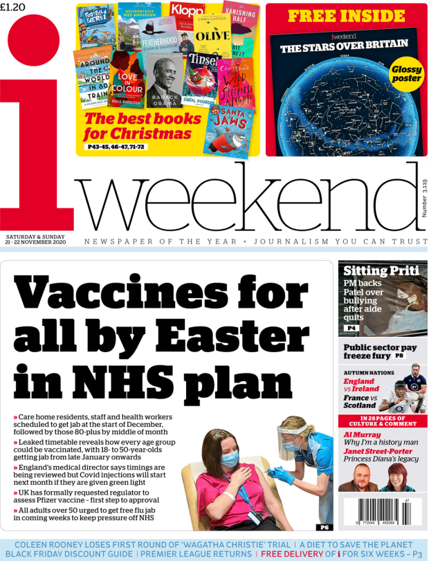 The i weekend front page 21 November 2020