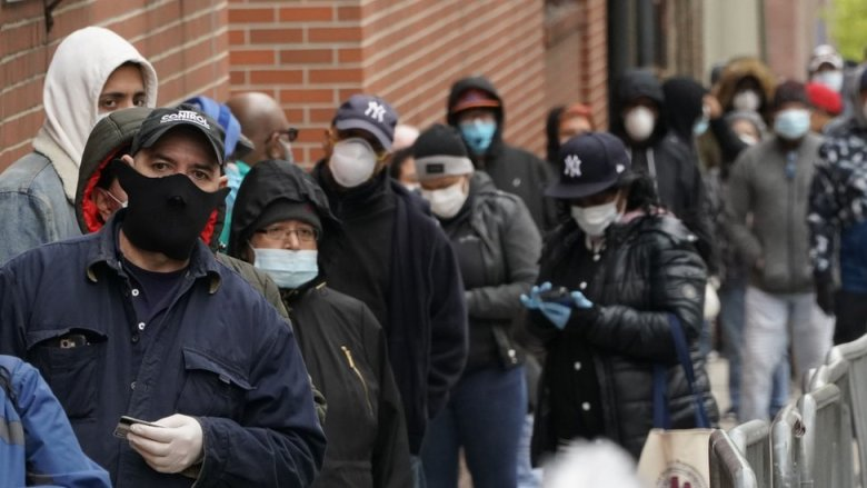 People at queue for tests in New York