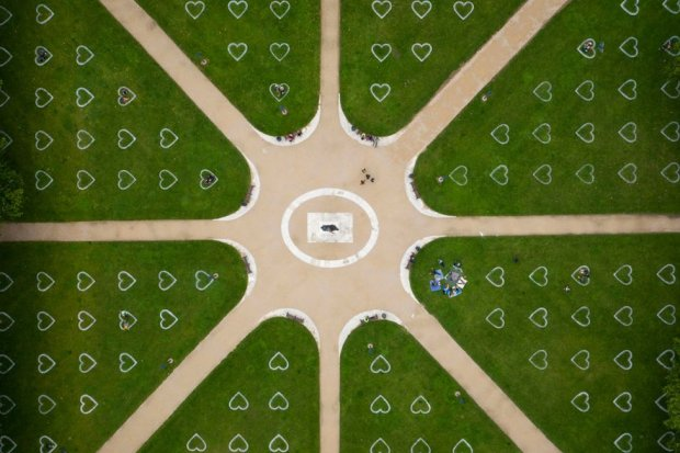 An aerial view of Queen Square where hearts have been sprayed onto the grass in an effort to encourage social distancing on 8 July 2020 in Bristol, England.