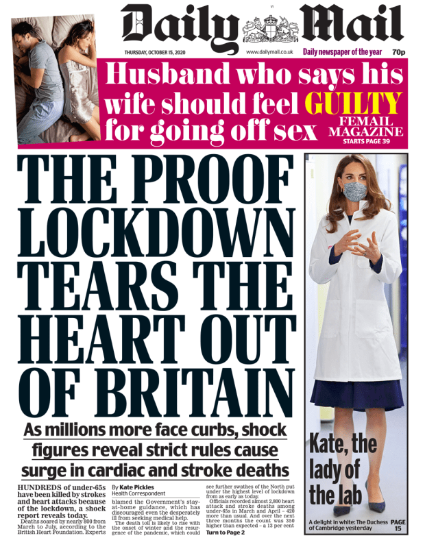 Daily Mail front page 15/10/20
