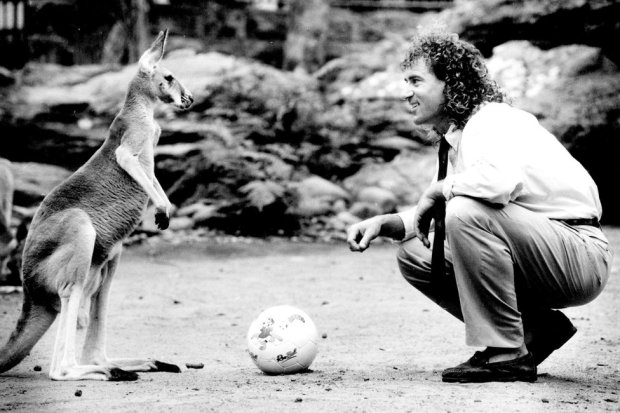 Craig Johnston nicknamed 'Roo' during his playing days at Liverpool at the launch of Roo Ball at the Taronga centre, Mosman yesterday. Its timeslot will be 7.30 pm on Sundays, up against The Simpsons and 60 Minutes. February 11, 1991.