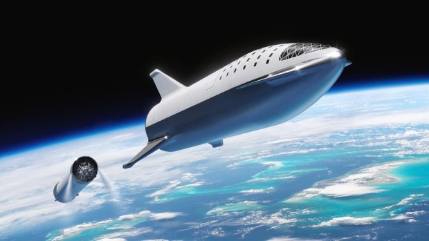 Starship at stage separation