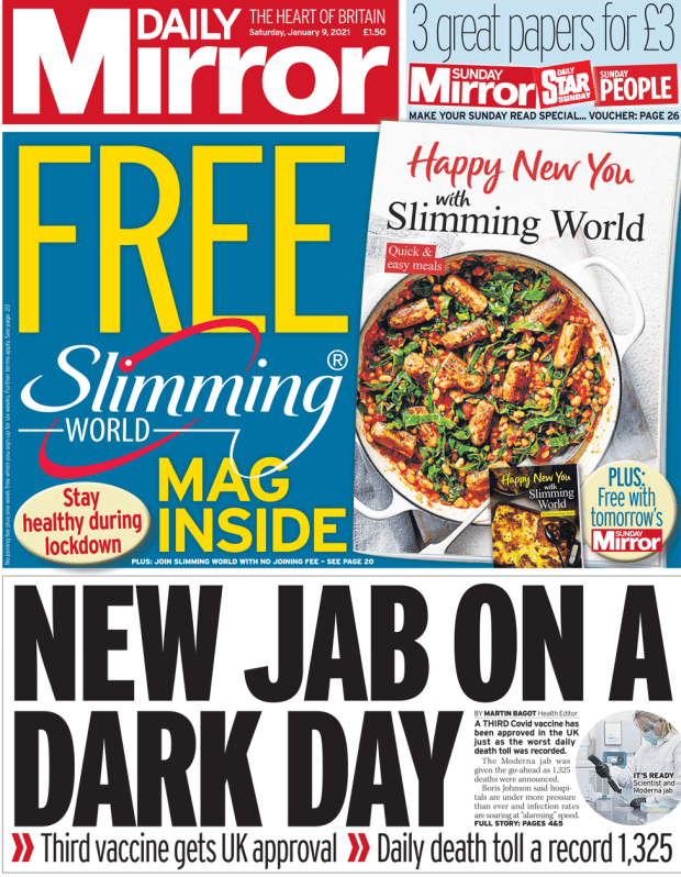 The Daily Mirror front page 9 January 2021