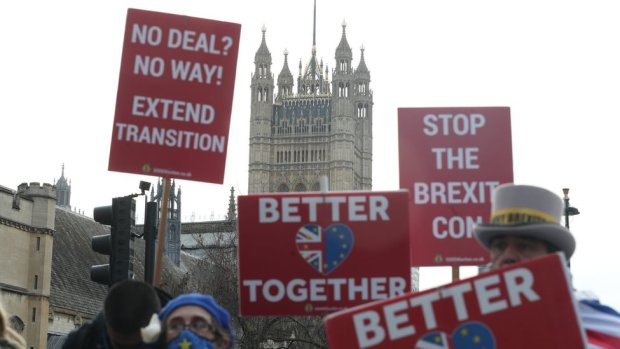 Pro-EU demonstrators in Westminster on 9 December