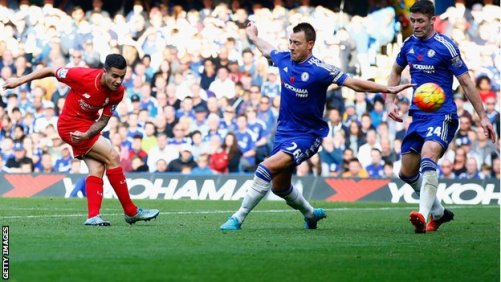 Philippe Coutinho scores his second goal for Liverpool at Chelsea
