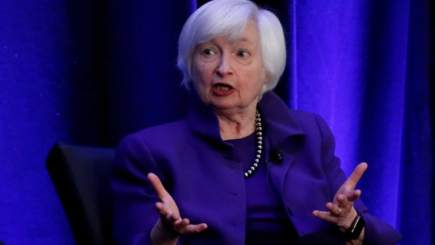 Former Federal Reserve Chair Janet Yellen speaks during a panel discussion in Atlanta, Georgia