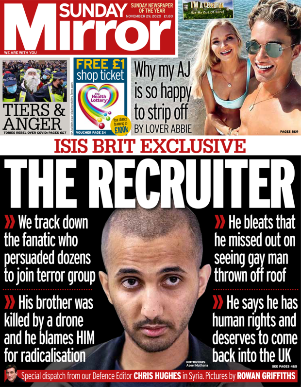 The Sunday Mirror front page 29 November 2020