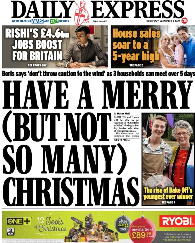 The Daily Express front page 25 November