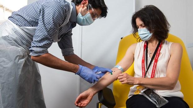 Volunteer receiving Oxford vaccine