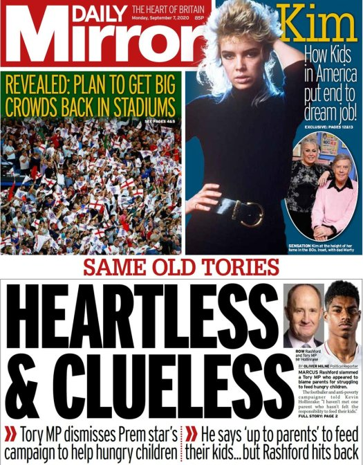 Daily Mirror front page, 7/9/20