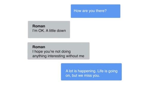 Conversación entre Eugenia Kuyda y su Replika de Roman Mazurenko.
