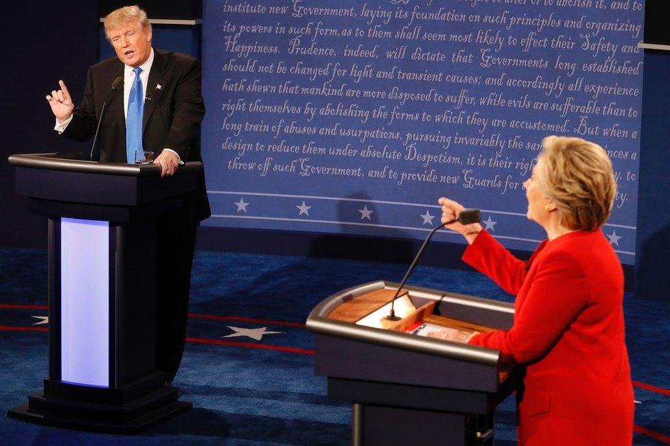 Donald Trump y Hillary Clinton debaten en Nueva York el 26 de septiembre de 2016.