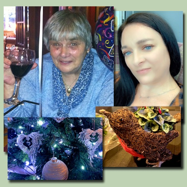Josie (l), Joanne (r) and the angel ornaments and robin