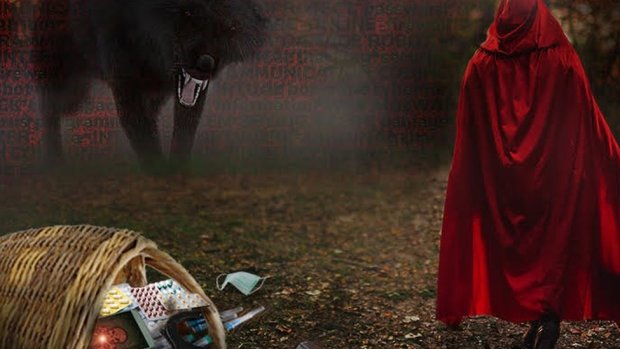 Graphic showing little red riding hood and a wolf