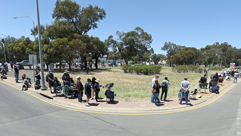 People are seen queuing up at the Parafield Gardens Covid-19 testing centre on 17 November 2020 in Adelaide, Australia.