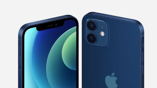 iPhone 12 blue in seen in front and back