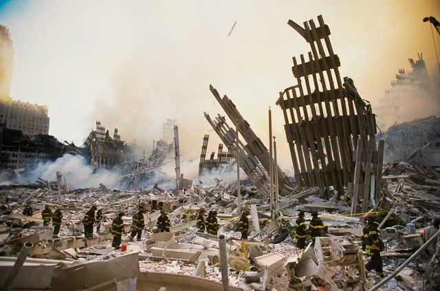 The World Trade Centre is reduced to rubble