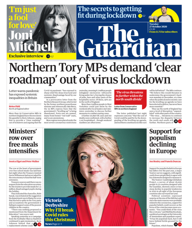 Guardian front page 27/10/20
