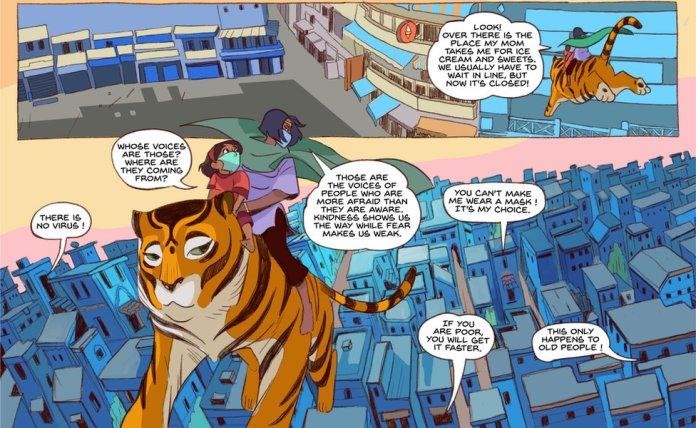 Priya takes Meena for a ride around the city