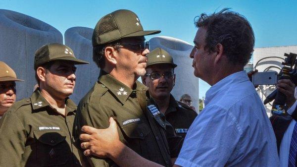 Castro Espín, de uniforme, en la Plaza de la Revolución de La Habana tras la muerte de Fidel Castro