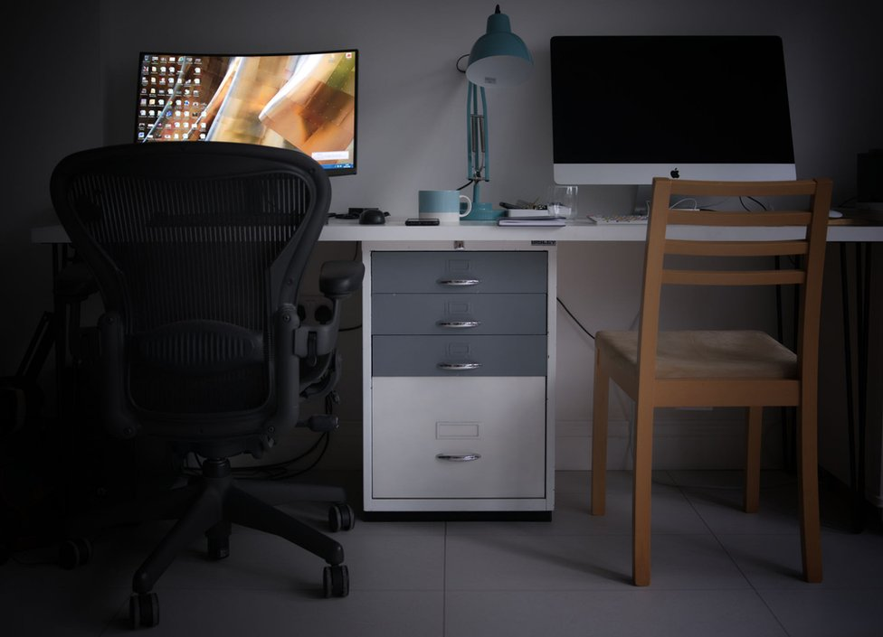 A shared desk space