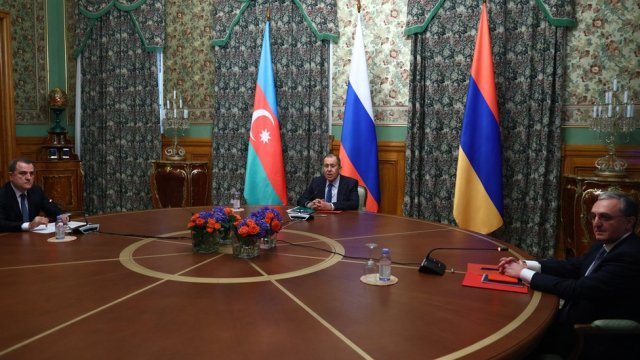Armenian, Azeri and Russian foreign ministers at talks