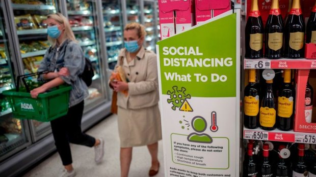 Asda shoppers wearing face coverings