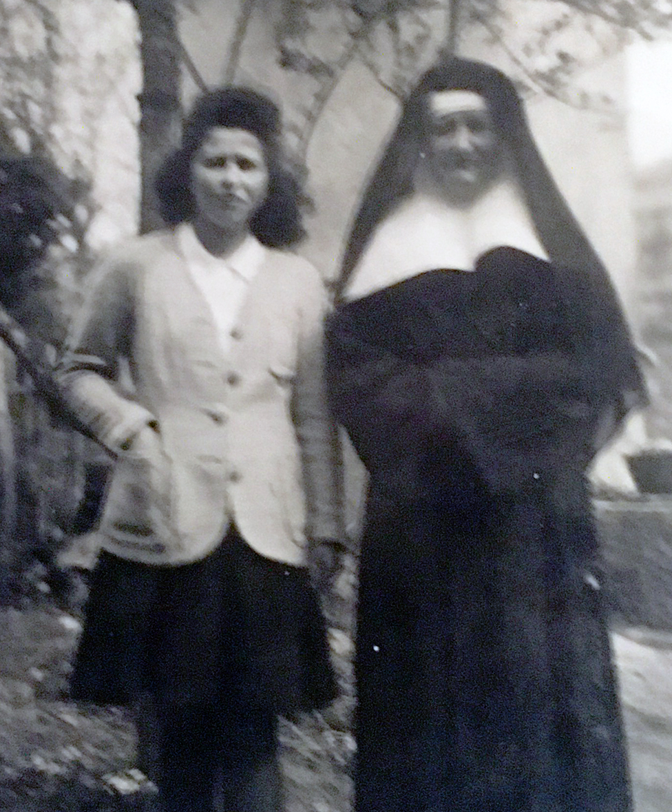 Denise Bergon with a girl, possibly Annie