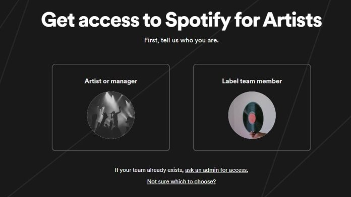 "The ""get access to Spotify for Artists"" page is shown with options for artists, managers, or label team members to apply for access"