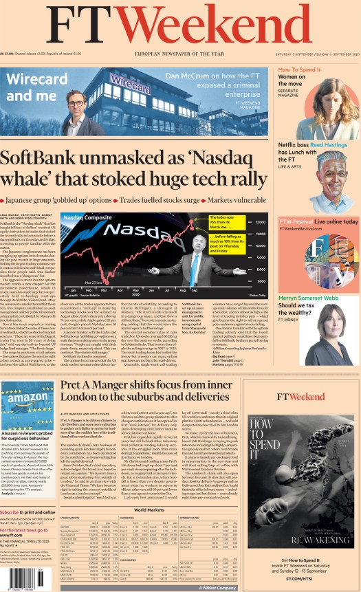 The FT Weekend front page 5 September 2020