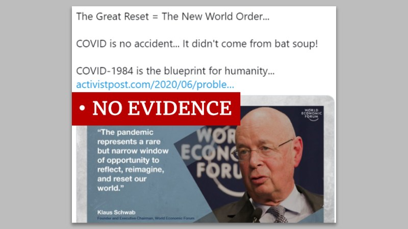 """Screenshot of a tweet that says """"The Great Reset = The New World Order..."""" We added a """"no evidence"""" label."""